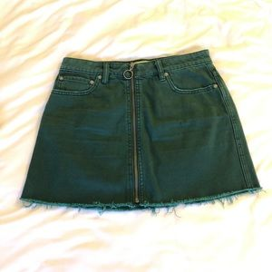 Free People Denim Skirt in Green